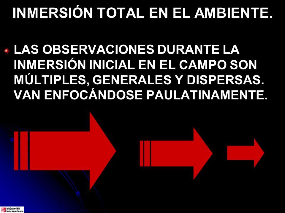 INMERSIÓN TOTAL EN EL AMBIENTE. LAS OBSERVACIONES DURANTE LA INMERSIÓN INICIAL EN EL CAMPO SON MÚLTIPLES, GENERALES Y DISPERSAS. VAN ENFOCÁNDOSE PAULA