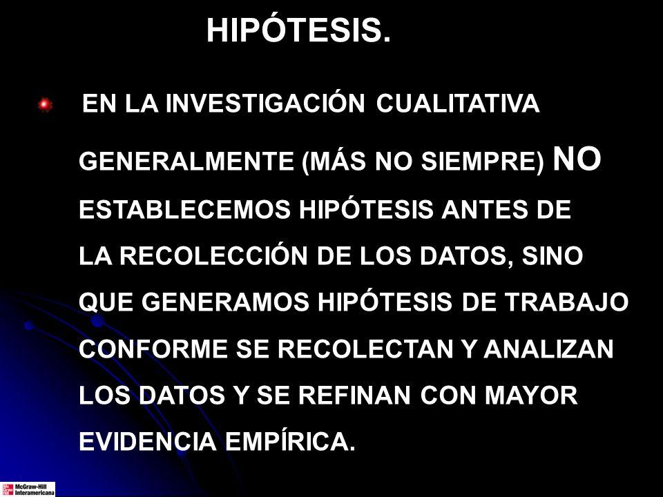HIPÓTESIS. EN LA INVESTIGACIÓN CUALITATIVA GENERALMENTE (MÁS NO SIEMPRE) NO ESTABLECEMOS HIPÓTESIS ANTES DE LA RECOLECCIÓN DE LOS DATOS, SINO QUE GENE