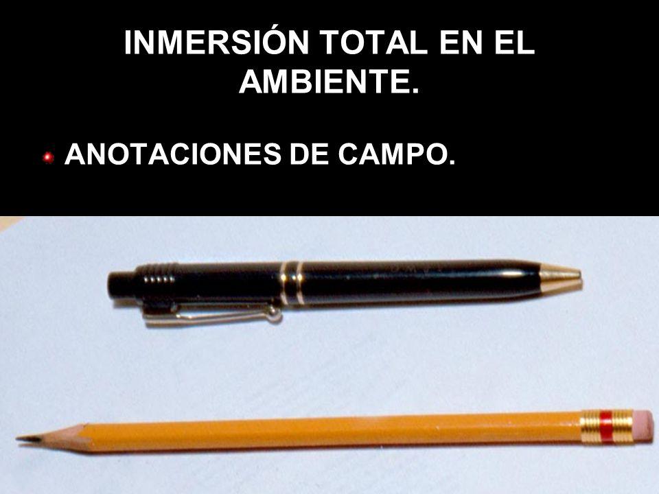 INMERSIÓN TOTAL EN EL AMBIENTE. ANOTACIONES DE CAMPO.