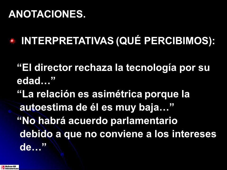 ANOTACIONES. INTERPRETATIVAS (QUÉ PERCIBIMOS): El director rechaza la tecnología por su edad… La relación es asimétrica porque la autoestima de él es