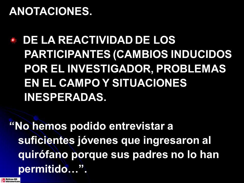 ANOTACIONES. DE LA REACTIVIDAD DE LOS PARTICIPANTES (CAMBIOS INDUCIDOS POR EL INVESTIGADOR, PROBLEMAS EN EL CAMPO Y SITUACIONES INESPERADAS. No hemos