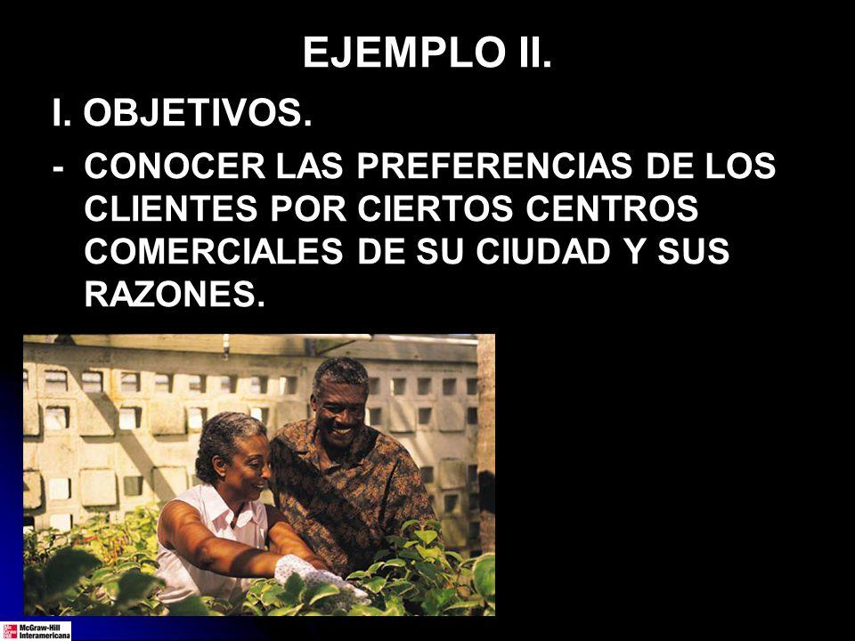 EJEMPLO II. I. OBJETIVOS. - CONOCER LAS PREFERENCIAS DE LOS CLIENTES POR CIERTOS CENTROS COMERCIALES DE SU CIUDAD Y SUS RAZONES.