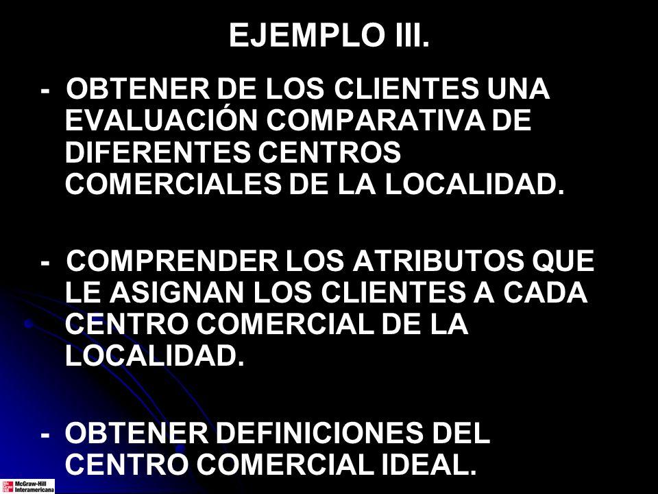 EJEMPLO III. - OBTENER DE LOS CLIENTES UNA EVALUACIÓN COMPARATIVA DE DIFERENTES CENTROS COMERCIALES DE LA LOCALIDAD. - COMPRENDER LOS ATRIBUTOS QUE LE