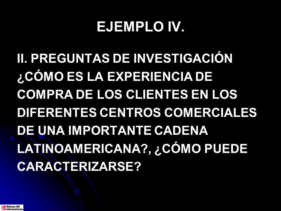 EJEMPLO IV. II. PREGUNTAS DE INVESTIGACIÓN ¿CÓMO ES LA EXPERIENCIA DE COMPRA DE LOS CLIENTES EN LOS DIFERENTES CENTROS COMERCIALES DE UNA IMPORTANTE C