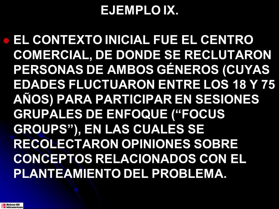 EJEMPLO IX. EL CONTEXTO INICIAL FUE EL CENTRO COMERCIAL, DE DONDE SE RECLUTARON PERSONAS DE AMBOS GÉNEROS (CUYAS EDADES FLUCTUARON ENTRE LOS 18 Y 75 A