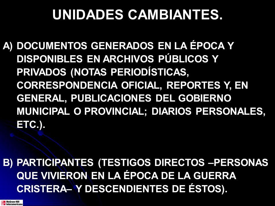 UNIDADES CAMBIANTES. A)DOCUMENTOS GENERADOS EN LA ÉPOCA Y DISPONIBLES EN ARCHIVOS PÚBLICOS Y PRIVADOS (NOTAS PERIODÍSTICAS, CORRESPONDENCIA OFICIAL, R