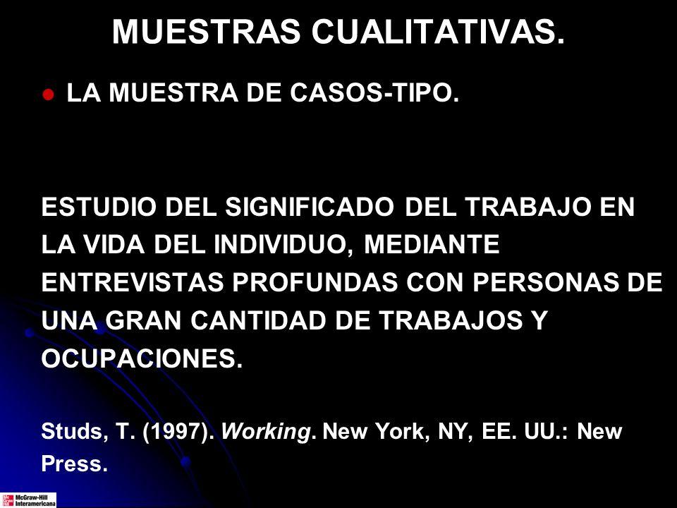 MUESTRAS CUALITATIVAS. LA MUESTRA DE CASOS-TIPO. ESTUDIO DEL SIGNIFICADO DEL TRABAJO EN LA VIDA DEL INDIVIDUO, MEDIANTE ENTREVISTAS PROFUNDAS CON PERS