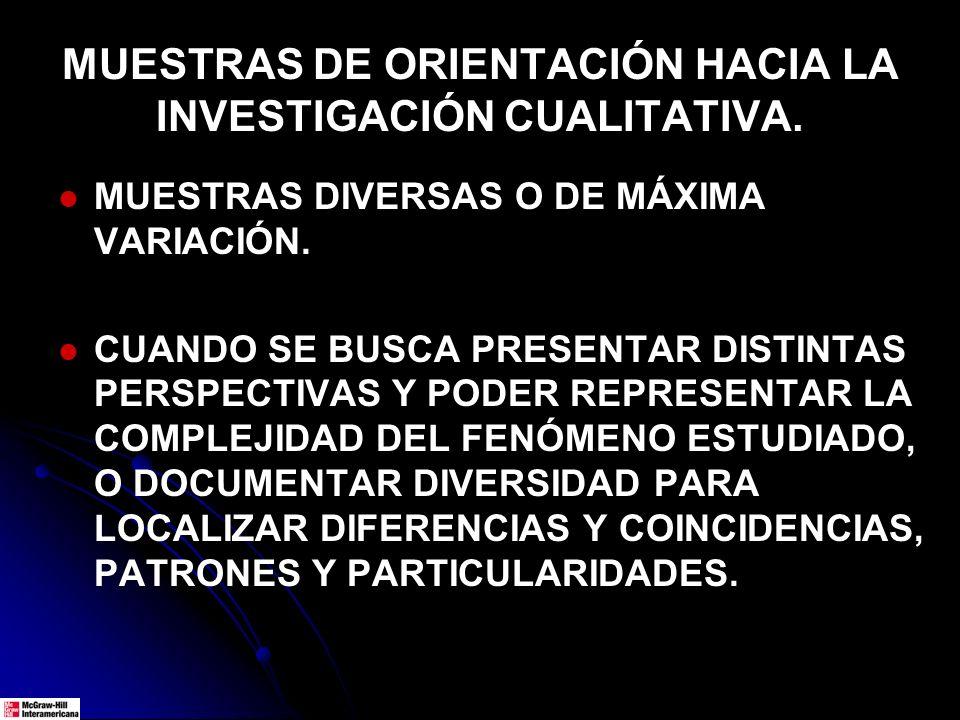 MUESTRAS DE ORIENTACIÓN HACIA LA INVESTIGACIÓN CUALITATIVA. MUESTRAS DIVERSAS O DE MÁXIMA VARIACIÓN. CUANDO SE BUSCA PRESENTAR DISTINTAS PERSPECTIVAS