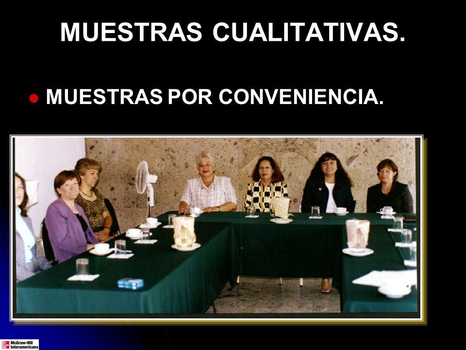 MUESTRAS CUALITATIVAS. MUESTRAS POR CONVENIENCIA.