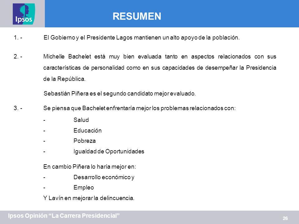 26 Ipsos Opinión La Carrera Presidencial 1. -El Gobierno y el Presidente Lagos mantienen un alto apoyo de la población. 2. -Michelle Bachelet está muy