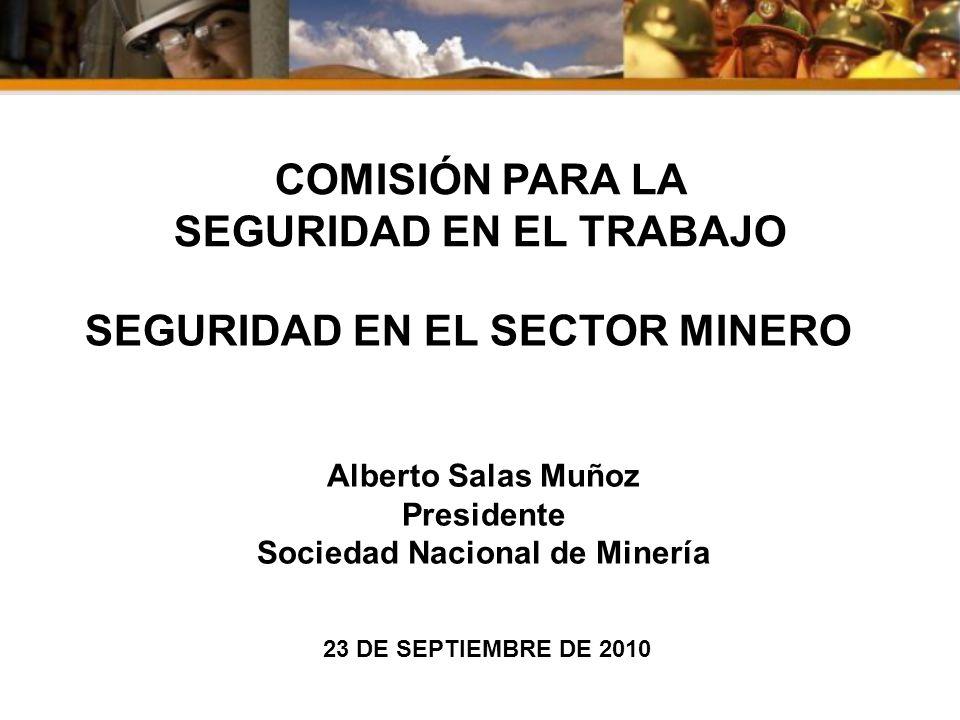 Sociedad Nacional de Minería COMISIÓN PARA LA SEGURIDAD EN EL TRABAJO 23 DE SEPTIEMBRE DE 2010 SEGURIDAD EN EL SECTOR MINERO Alberto Salas Muñoz Presi