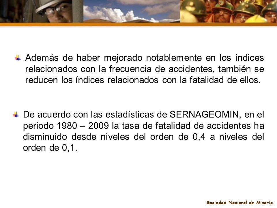 Sociedad Nacional de Minería Además de haber mejorado notablemente en los índices relacionados con la frecuencia de accidentes, también se reducen los