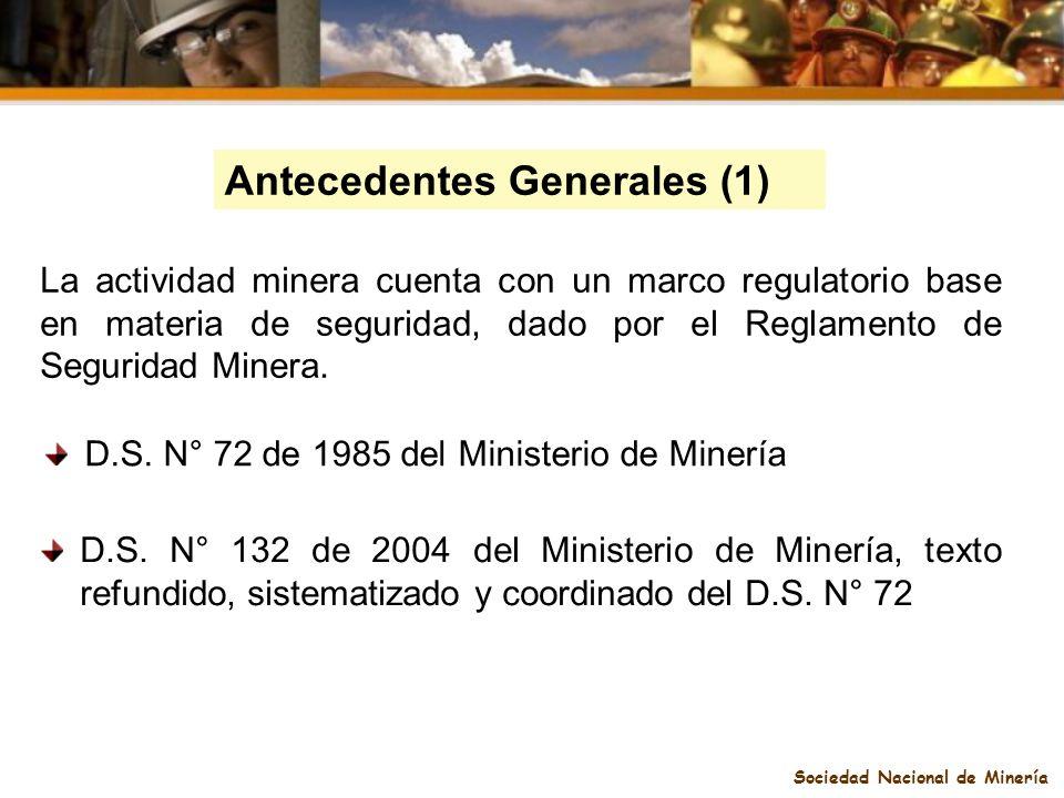 Sociedad Nacional de Minería La actividad minera cuenta con un marco regulatorio base en materia de seguridad, dado por el Reglamento de Seguridad Min