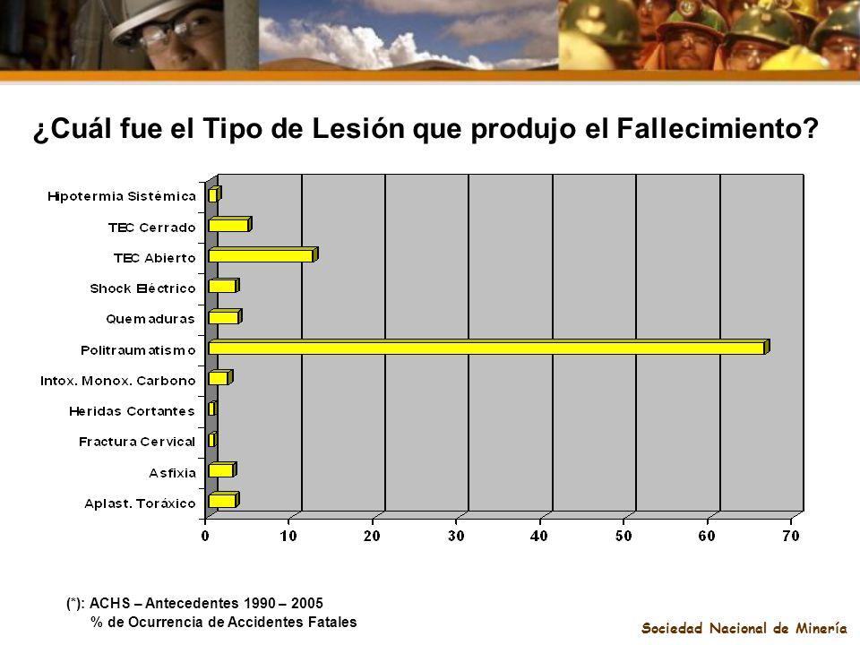Sociedad Nacional de Minería ¿Cuál fue el Tipo de Lesión que produjo el Fallecimiento? (*): ACHS – Antecedentes 1990 – 2005 % de Ocurrencia de Acciden