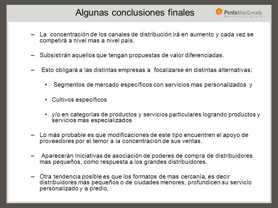 Algunas conclusiones finales –La concentración de los canales de distribución irá en aumento y cada vez se competirá a nivel mas a nivel país. –Subsis