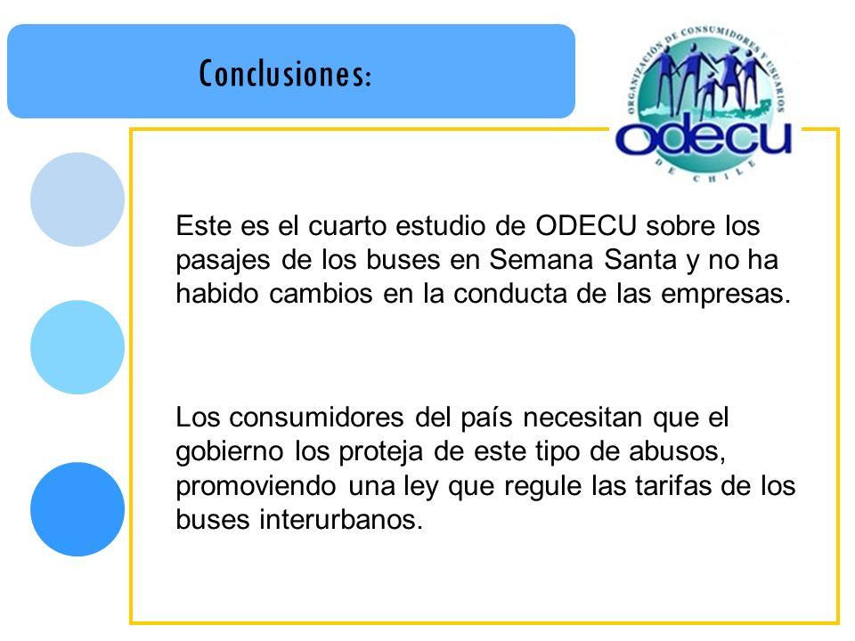 Conclusiones: Este es el cuarto estudio de ODECU sobre los pasajes de los buses en Semana Santa y no ha habido cambios en la conducta de las empresas.