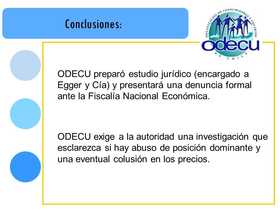 Conclusiones: ODECU preparó estudio jurídico (encargado a Egger y Cía) y presentará una denuncia formal ante la Fiscalía Nacional Económica. ODECU exi