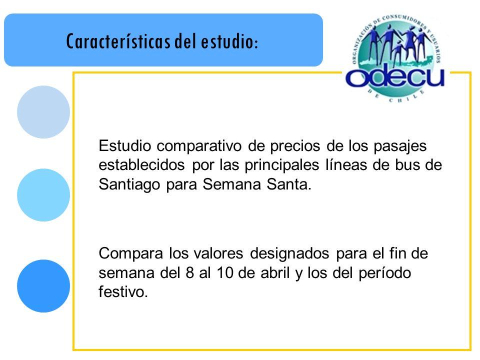 Características del estudio: Estudio comparativo de precios de los pasajes establecidos por las principales líneas de bus de Santiago para Semana Santa.