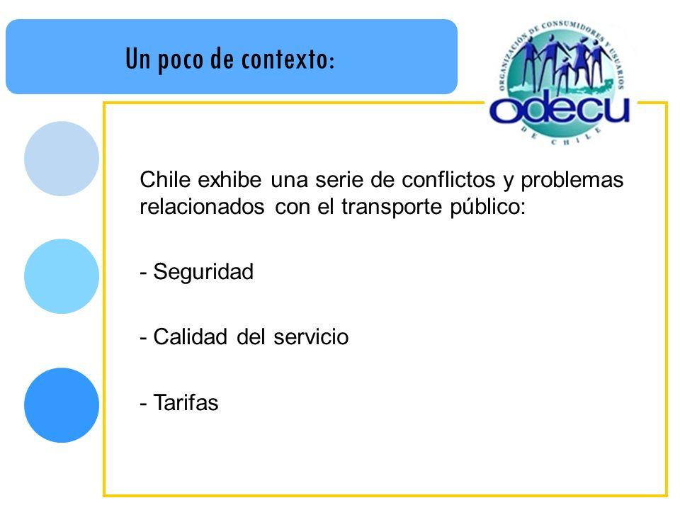 Un poco de contexto: Chile exhibe una serie de conflictos y problemas relacionados con el transporte público: - Seguridad - Calidad del servicio - Tar
