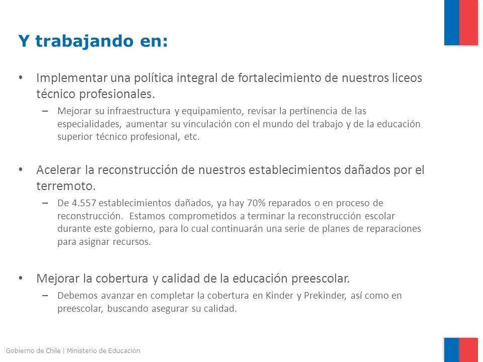 Gobierno de Chile | Ministerio de Educación Y trabajando en: Implementar una política integral de fortalecimiento de nuestros liceos técnico profesion