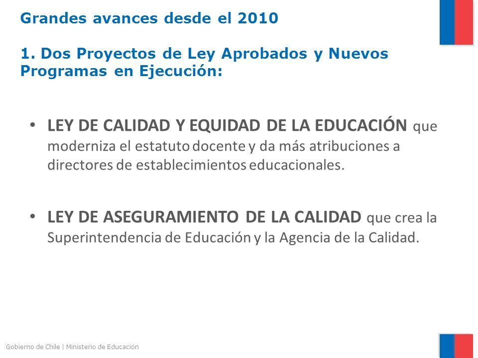 Gobierno de Chile | Ministerio de Educación Grandes avances desde el 2010 1. Dos Proyectos de Ley Aprobados y Nuevos Programas en Ejecución: LEY DE CA