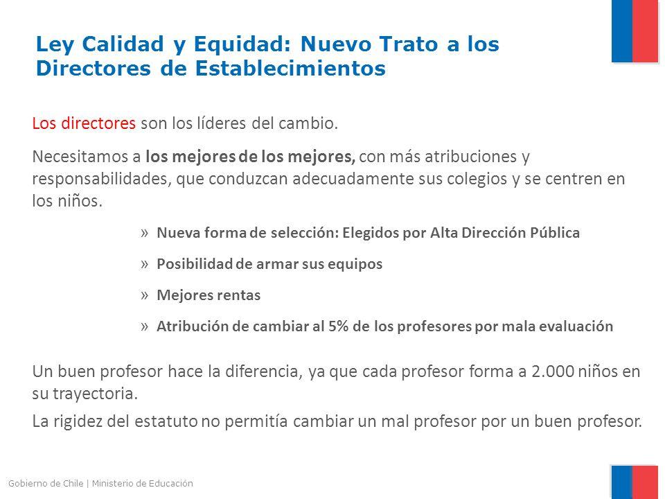Gobierno de Chile | Ministerio de Educación Ley Calidad y Equidad: Nuevo Trato a los Directores de Establecimientos Los directores son los líderes del