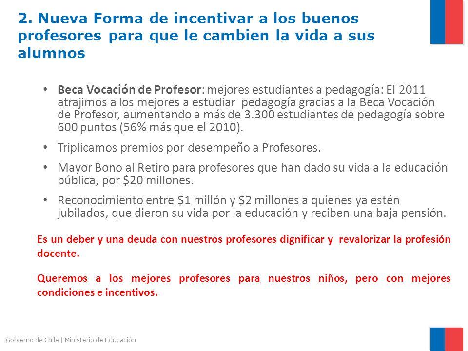 Gobierno de Chile | Ministerio de Educación 2. Nueva Forma de incentivar a los buenos profesores para que le cambien la vida a sus alumnos Beca Vocaci