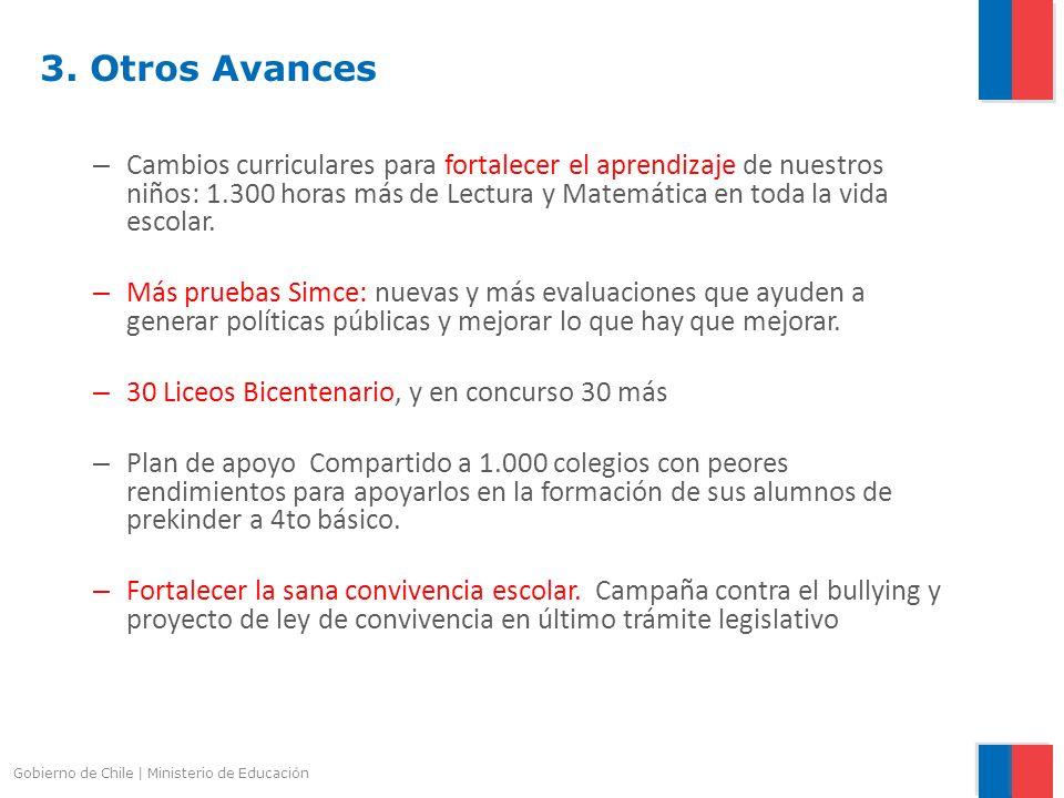 Gobierno de Chile | Ministerio de Educación 3. Otros Avances – Cambios curriculares para fortalecer el aprendizaje de nuestros niños: 1.300 horas más