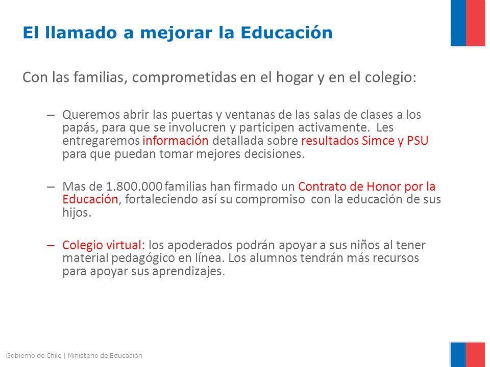 Gobierno de Chile | Ministerio de Educación El llamado a mejorar la Educación Con las familias, comprometidas en el hogar y en el colegio: – Queremos