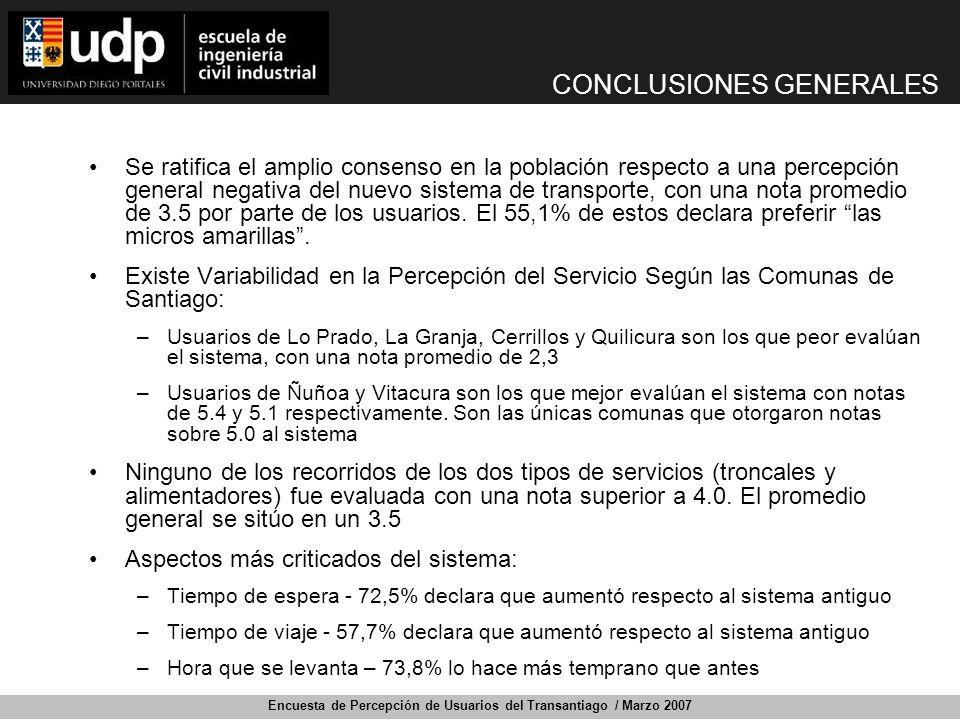 Encuesta de Percepción de Usuarios del Transantiago / Marzo 2007 CONCLUSIONES GENERALES Se ratifica el amplio consenso en la población respecto a una