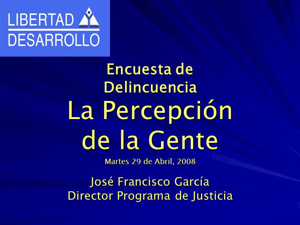 Encuesta de Delincuencia La Percepción de la Gente Martes 29 de Abril, 2008 José Francisco García Director Programa de Justicia