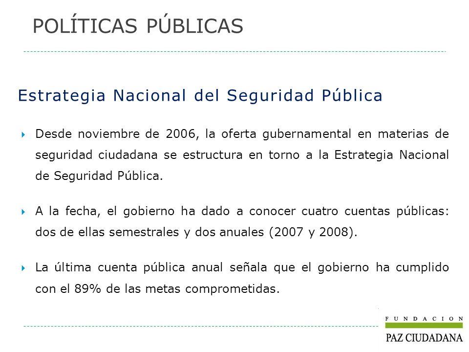 Estrategia Nacional del Seguridad Pública Desde noviembre de 2006, la oferta gubernamental en materias de seguridad ciudadana se estructura en torno a