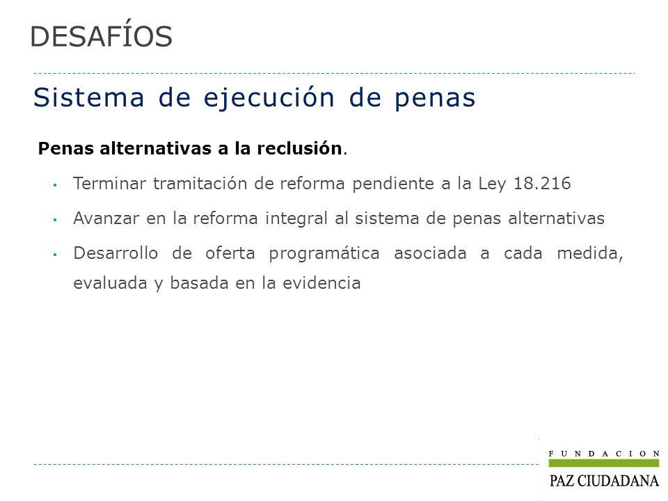 Sistema de ejecución de penas Penas alternativas a la reclusión. Terminar tramitación de reforma pendiente a la Ley 18.216 Avanzar en la reforma integ