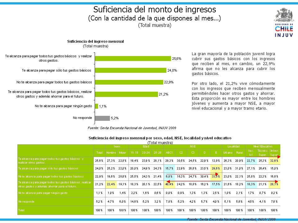 Suficiencia del monto de ingresos (Con la cantidad de la que dispones al mes...) (Total muestra) La gran mayoría de la población juvenil logra cubrir