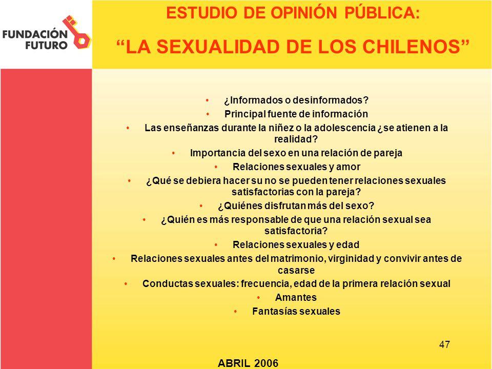 47 ESTUDIO DE OPINIÓN PÚBLICA: LA SEXUALIDAD DE LOS CHILENOS ABRIL 2006 ¿Informados o desinformados? Principal fuente de información Las enseñanzas du