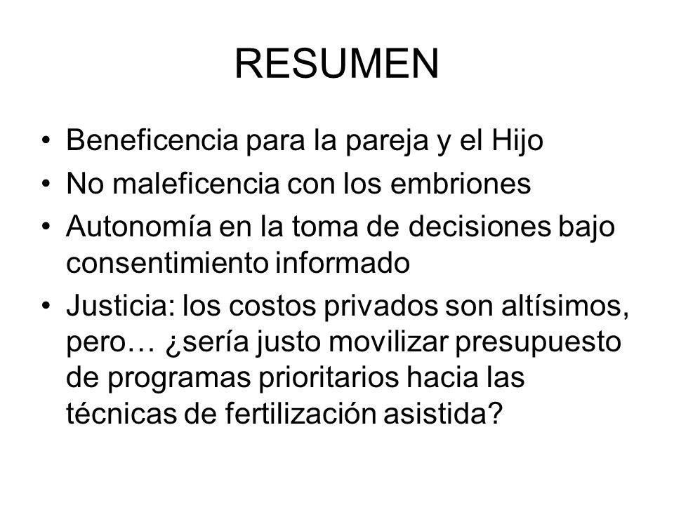 RESUMEN Beneficencia para la pareja y el Hijo No maleficencia con los embriones Autonomía en la toma de decisiones bajo consentimiento informado Justi