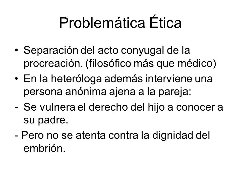 Problemática Ética Separación del acto conyugal de la procreación. (filosófico más que médico) En la heteróloga además interviene una persona anónima