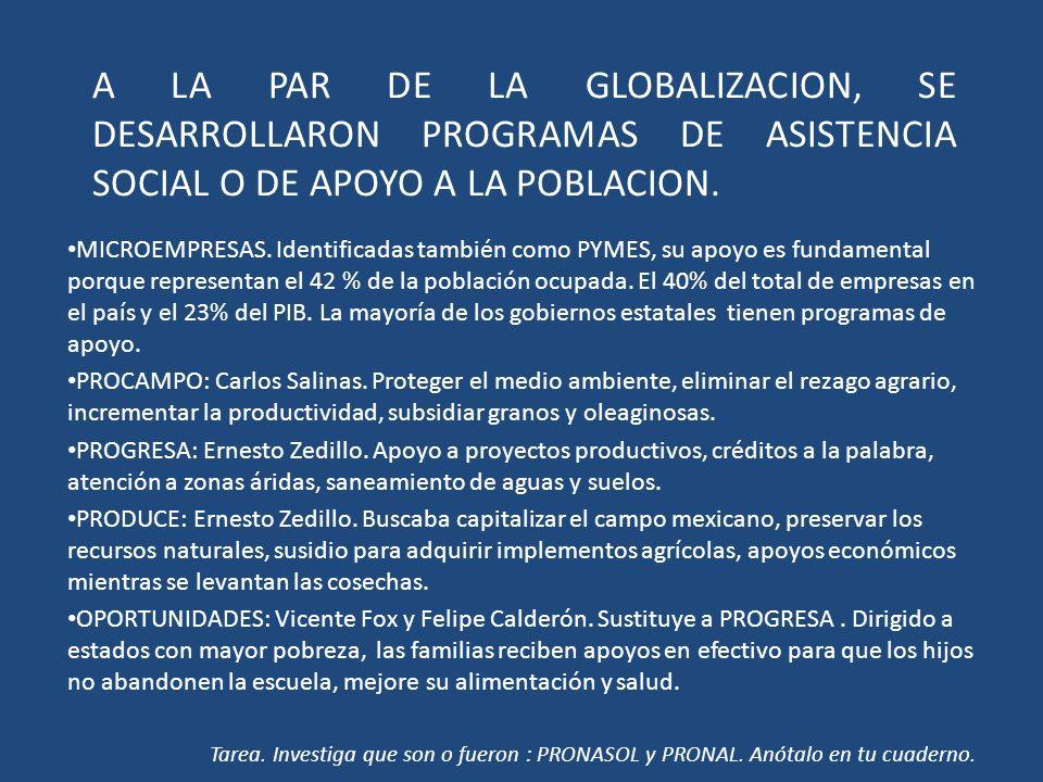 A LA PAR DE LA GLOBALIZACION, SE DESARROLLARON PROGRAMAS DE ASISTENCIA SOCIAL O DE APOYO A LA POBLACION. MICROEMPRESAS. Identificadas también como PYM
