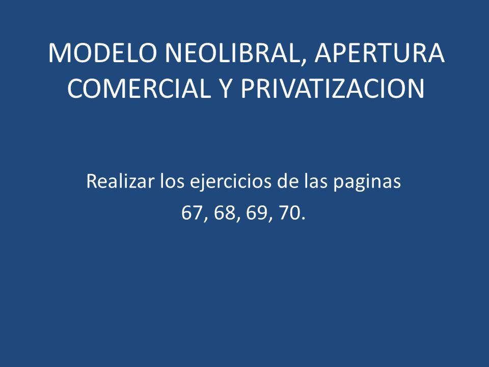 MODELO NEOLIBRAL, APERTURA COMERCIAL Y PRIVATIZACION Realizar los ejercicios de las paginas 67, 68, 69, 70.