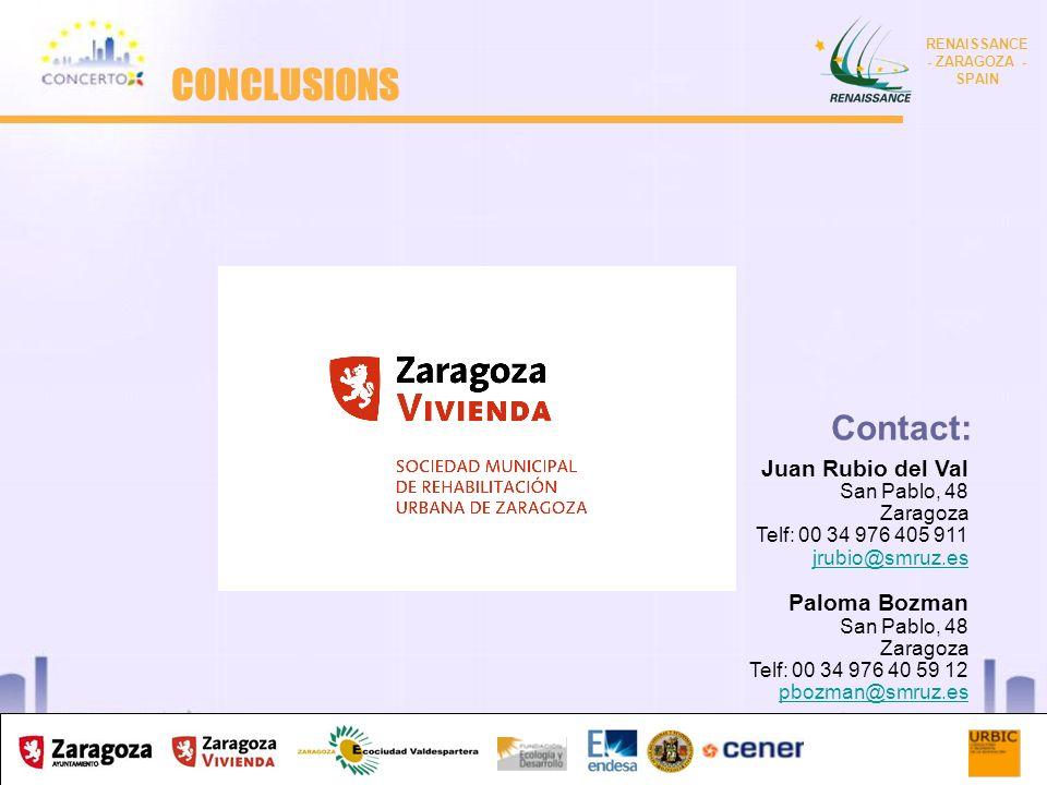 RENAISSANCE es un proyecto del programa CONCERTO co-financiado por la Comisión Europea dentro del Sexto Programa Marco RENAISSANCE - ZARAGOZA - SPAIN 9 Juan Rubio del Val San Pablo, 48 Zaragoza Telf: 00 34 976 405 911 jrubio@smruz.es Paloma Bozman San Pablo, 48 Zaragoza Telf: 00 34 976 40 59 12 pbozman@smruz.es Contact: CONCLUSIONS