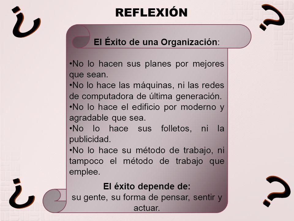 REFLEXIÓN El Éxito de una Organización: No lo hacen sus planes por mejores que sean. No lo hace las máquinas, ni las redes de computadora de última ge