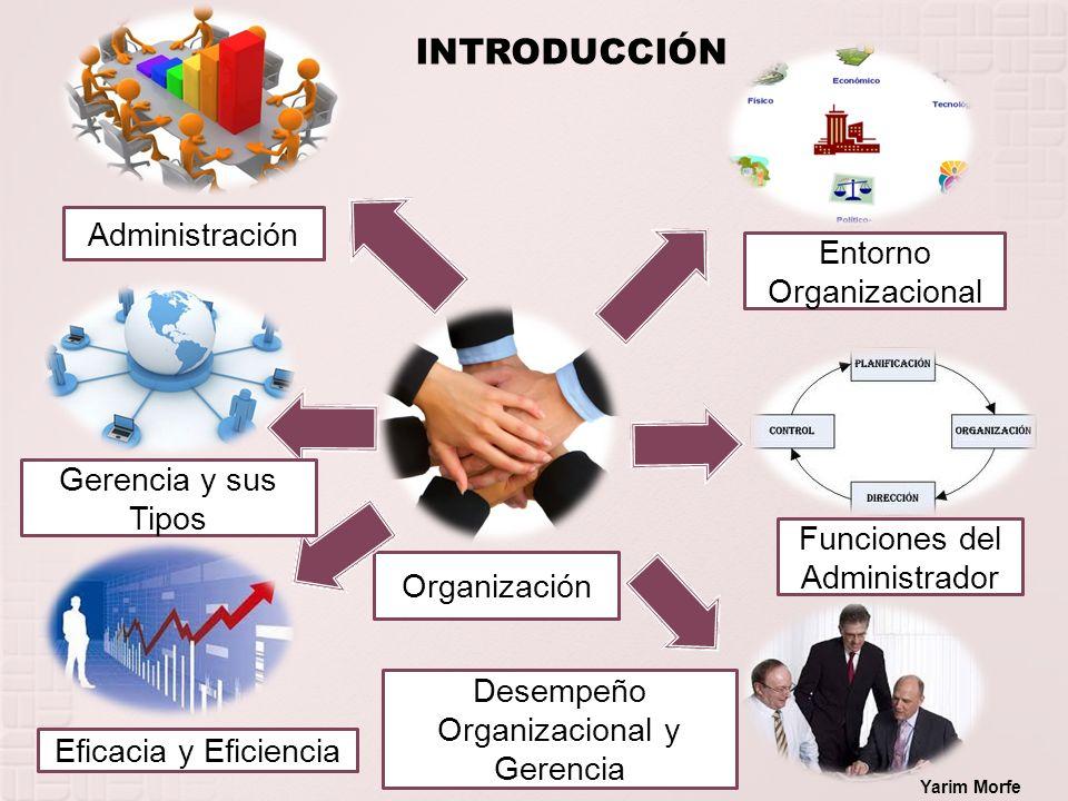 Organización Administración INTRODUCCIÓN Entorno Organizacional Funciones del Administrador Desempeño Organizacional y Gerencia Eficacia y Eficiencia