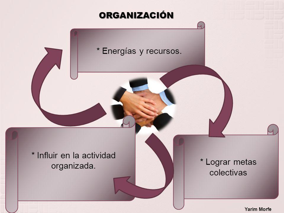 ORGANIZACIÓN * Energías y recursos. * Lograr metas colectivas * Influir en la actividad organizada. Yarim Morfe