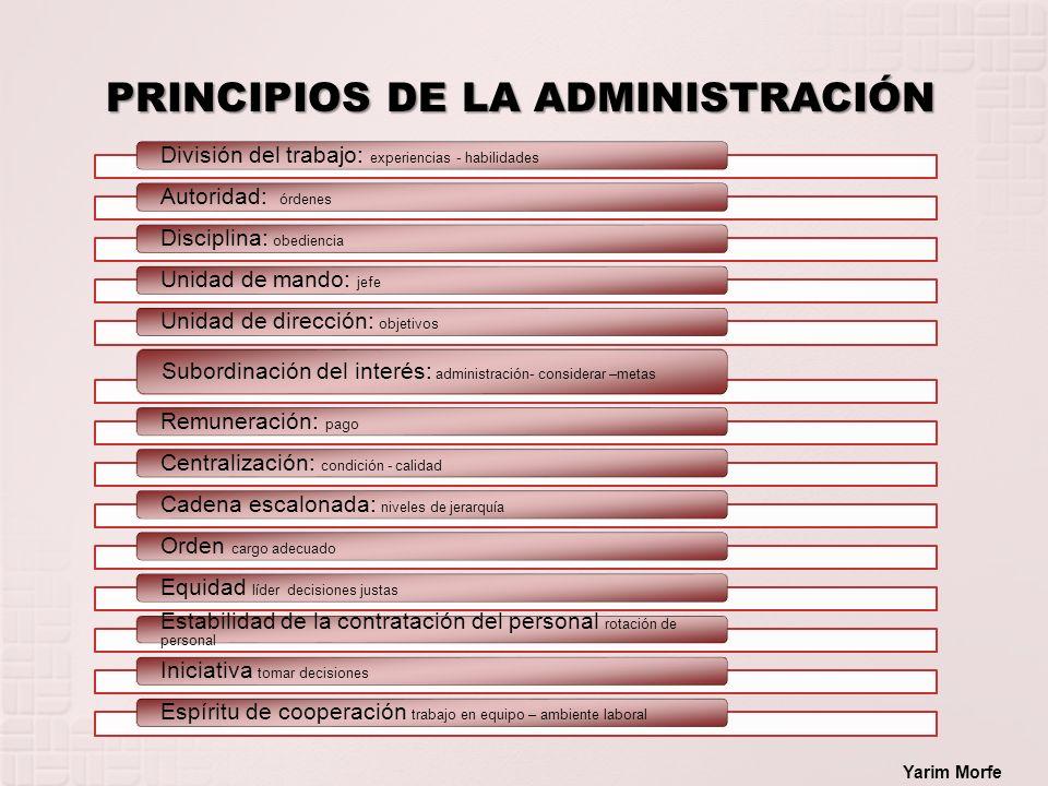 PRINCIPIOS DE LA ADMINISTRACIÓN Yarim Morfe División del trabajo: experiencias - habilidades Autoridad: órdenes Disciplina: obediencia Unidad de mando