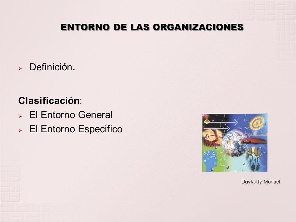 ENTORNO DE LAS ORGANIZACIONES Definición. Clasificación: El Entorno General El Entorno Especifico Daykatty Montiel