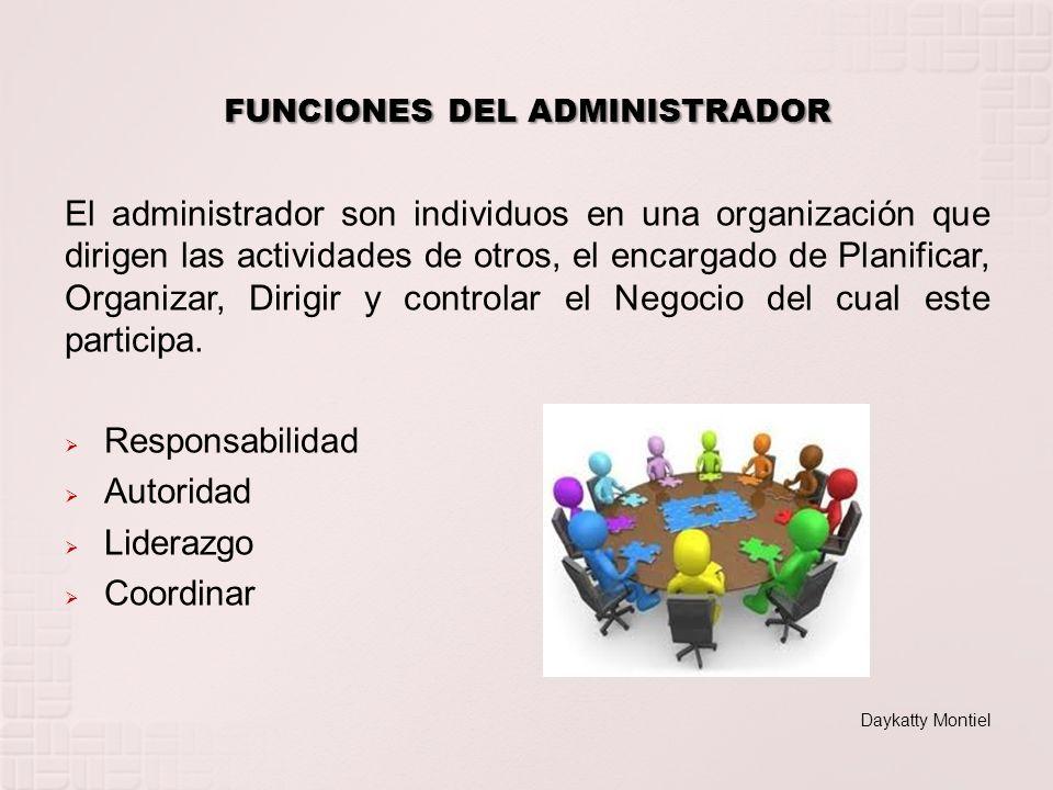 El administrador son individuos en una organización que dirigen las actividades de otros, el encargado de Planificar, Organizar, Dirigir y controlar e