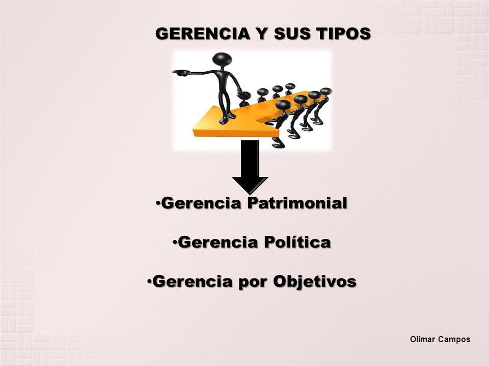 GERENCIA Y SUS TIPOS Gerencia Patrimonial Gerencia Patrimonial Gerencia Política Gerencia Política Gerencia por Objetivos Gerencia por Objetivos Olima