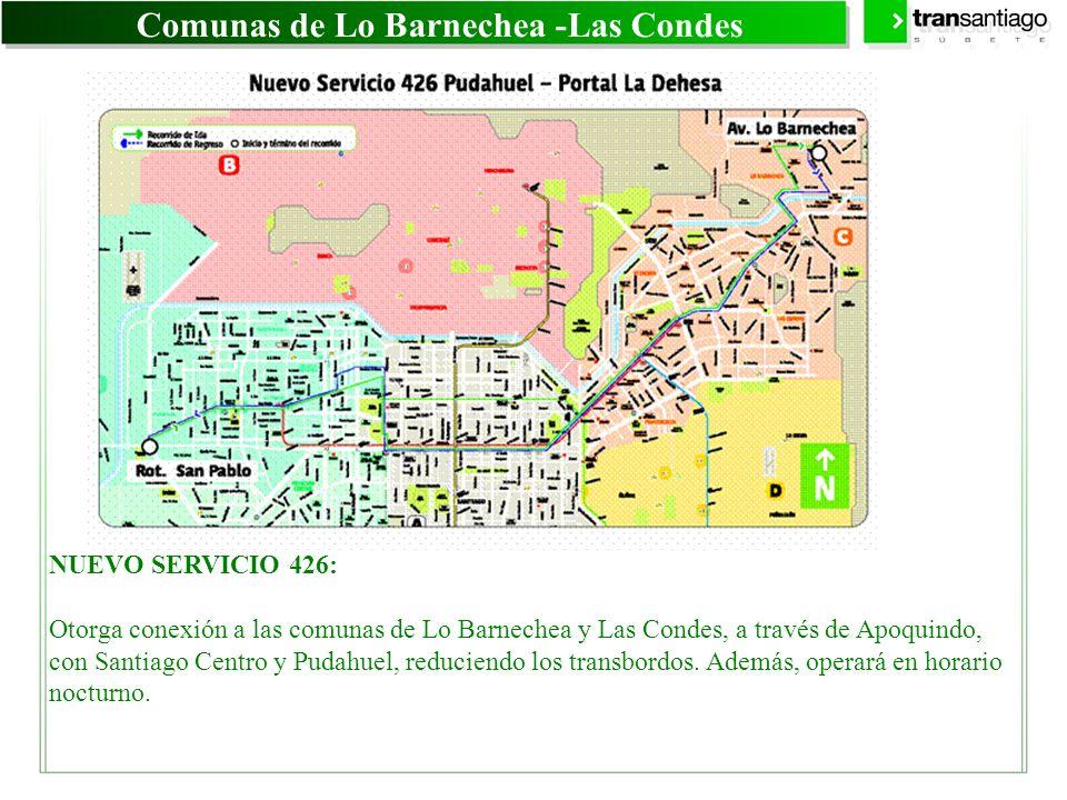 Comunas de Lo Barnechea -Las Condes NUEVO SERVICIO 426: Otorga conexión a las comunas de Lo Barnechea y Las Condes, a través de Apoquindo, con Santiag