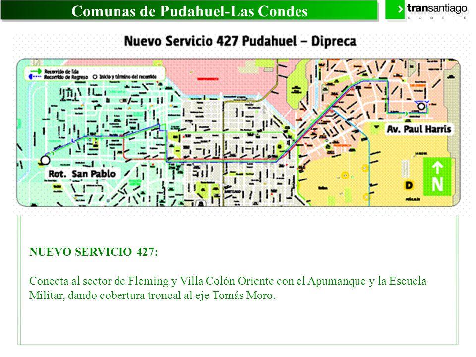 Comunas de Pudahuel-Las Condes NUEVO SERVICIO 427: Conecta al sector de Fleming y Villa Colón Oriente con el Apumanque y la Escuela Militar, dando cob