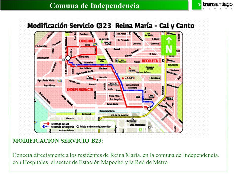 Comuna de Independencia MODIFICACIÓN SERVICIO B23: Conecta directamente a los residentes de Reina María, en la comuna de Independencia, con Hospitales